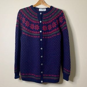 Vintage Norway Hand Knitted Cardigan Sweater